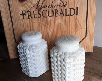 Basket Weave Salt & Pepper Shakers Ceramic Basketweave / Cork Stoppers / Vintage Set ~ #M2025