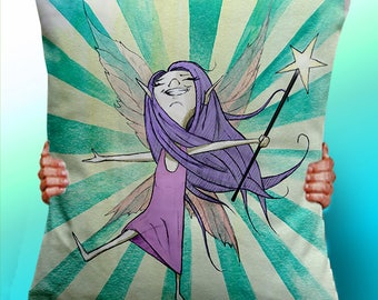 Fairy Pixie Wand Wings - Cushion / Pillow Cover / Panel / Fabric