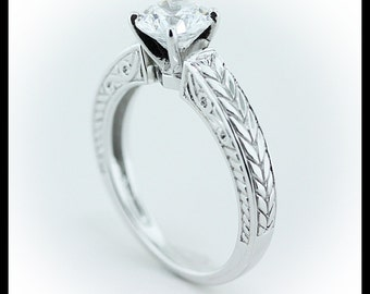 Carved Solitaire Moissanite Engagement Ring