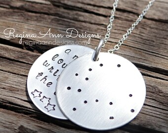 Hand Stamped Constellation Ursa Major & Ursa Minor Necklace. Big Dipper and Little Dipper Mom, Mother, Mommy Necklace