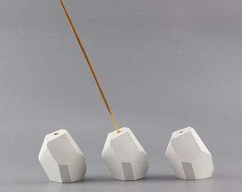 Geometric Concrete Incense holder/white Geo Incense Stick Holder / Handmade