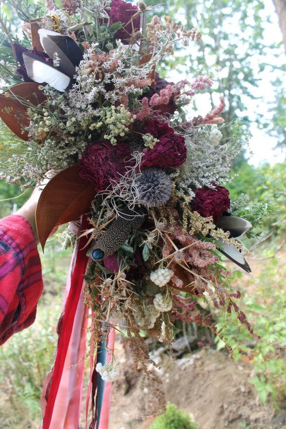dried flower bouquet marsala bouquet thistle bouquet rustic