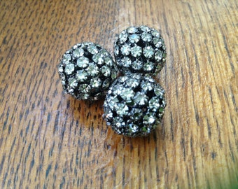 Black Rhinestone Pave beads