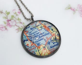 Map Necklace of Berkeley, California, Geography Gift, Your City Personalized Graduation Gift, Teacher Retirement Gift, College Town Jewelry
