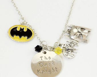 "Batman The Dark Knight Silver Charm Necklace-20"""
