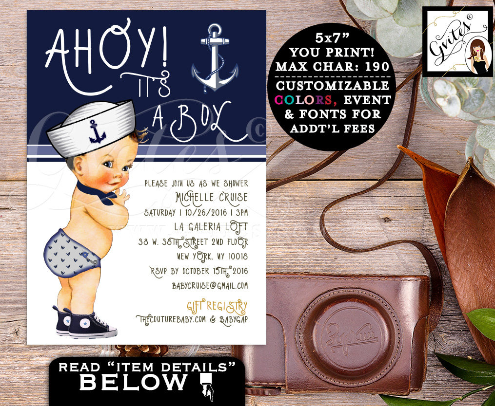 Little sailor boy invitations, BABY SHOWER invitations, ahoy it\'s a ...