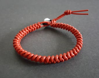 Red Leather Snake Knot Bracelet,Leather Bracelet, Wrist,Brown Leather