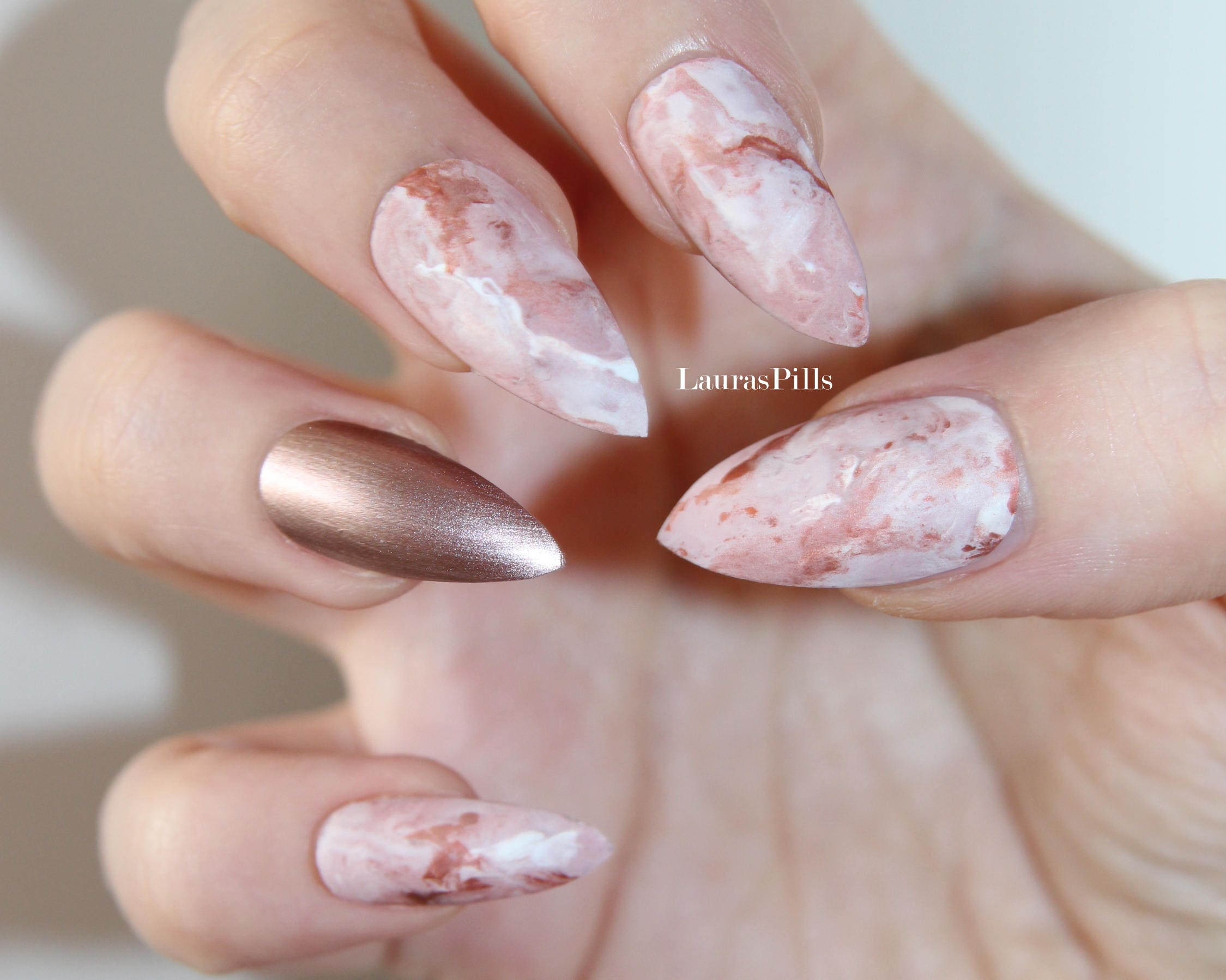 Rose gold pink marble stiletto false nails press on nails