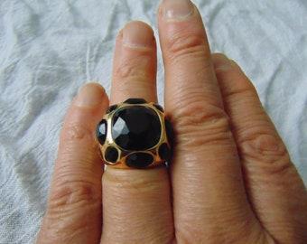 kjl jet crystal ring chunky ring sz.9 ring black crystal enamel gold ring kenneth j lane ring sparkling ring crystal ring multi colored