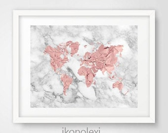 Rose gold world map etsy rose gold world map rose world map poster rose gold world map print gumiabroncs Gallery