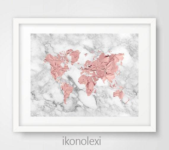 Rose gold world map rose world map poster rose gold world rose gold world map rose world map poster rose gold world map print marble world map rose gold decor rose world map rose gold wall art sciox Gallery