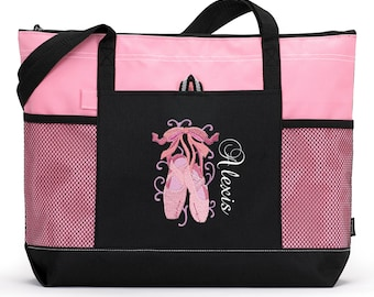 Dancer / Ballet Personalized  Zippered Tote Bag with Mesh Pockets, Beach Bag, Boating
