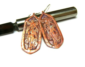 Aztec Goddess Earrings, Sterling Silver Earrings, Distressed Orange Earrings, Tribal jewelry, Ethic jewelry, Mexican goddess