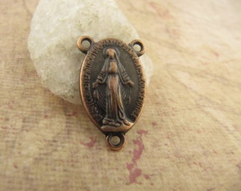 Antique Copper Miraculous Medal Rosary Center