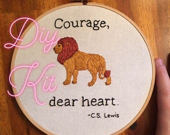 DIY Embroidery Kit, Learn to embroider, Beginner Embroidery, C.S. Lewis Embroidery Kit, Courage Dear Heart Embroidery Kit, DIY Kit
