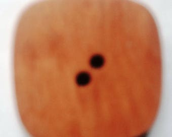large 45MM square beige wooden DILL buttons