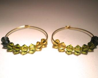 Green Ombre Swarovski Crystal Gold Hoop Earrings