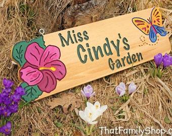 Garden Sign w/ Your Design Custom Flower Plaque Name Outdoor Gift for Mom