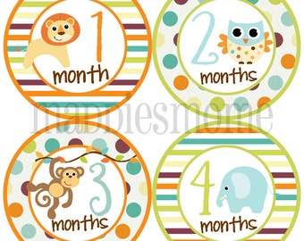 Monthly Baby Boy Stickers Baby Month Stickers, Monthly Bodysuit Sticker, Monthly Stickers Gender Neutral (Baby Animals)