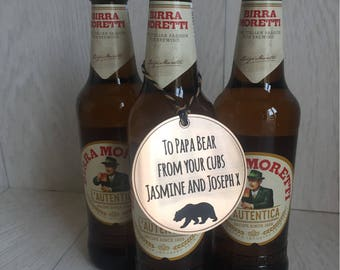 Quirky personalised metallic bottle tag for papa bear Father's Day birthday beer lager wind spirits