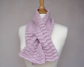 Pink Melange Keyhole Scarf, Pull Through, Hand Knit Neck Scarf, Bow Scarflette, Wool Blend, Womens Short Scarf
