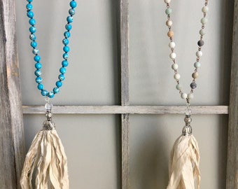 Ivory Silk Sari Tassel Necklace