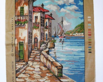 GOBELIN Tapestry & DMC Threads Printed Tapestry Canvas with 44 Threads to Complete Greek Fishing Village Printed on 100% Cotton Canvas