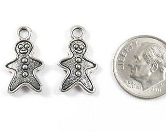 TierraCast Pewter Christmas Charms-Silver Gingerbread Man (2)