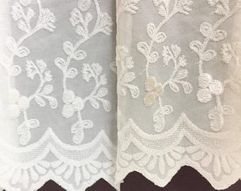 Sheer Fabric - Polyester Patterned Sheer Panel - White or Champagne Sheer  - Leafy Vine Pattern - Singed Flower Fabric - P18 - 1 Panel