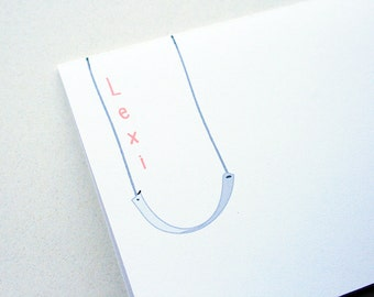 Kids' Stationery -- Personalized Notes -- L E X I -- Set of Custom Notes & Envelopes in White