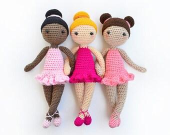 Patrón de Crochet en Inglés - Tracey la Bailarina - Ballet - 28 cm./11 in.- Muñeca Amigurumi Juguete Ganchillo - Descarga Instantánea en PDF