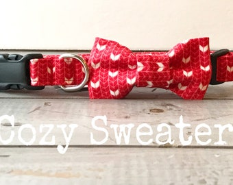 Limited Edition / Limited Quantities!! DOG COLLAR SaLe, The Cozy Sweater,   for Girls or Boys, Red & White Dog Collar, Cozy Dog Collars