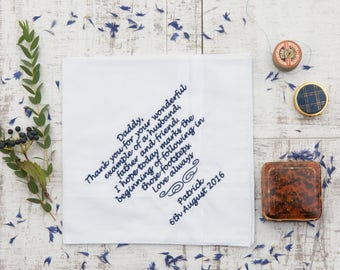 Luxury Personalised Handkerchief, Any Message Embroidered, Personalised Father of the Bride Gift, Long Message or Poem, Luxury Handkerchief