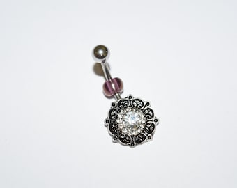 Hand Made Belly Rings, Belly Ring, Crystal Belly Button rings, Belly Button Ring Belly Button Rings, Flower Belly Ring, Navel Rings