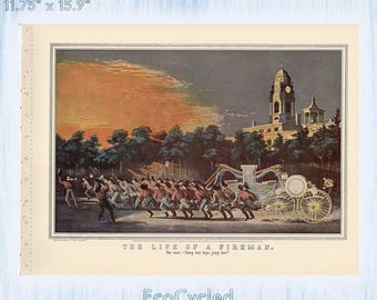 Currier & Ives Vintage Lithograph Print American Life of a Fireman the race, the fire Paper Ephemera Book Page z26-27