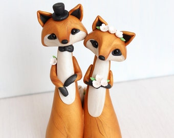 Wedding Cake Topper - Fox woodland cake topper and keepsake by Heartmade Cottage
