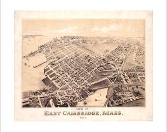 "Cambridge Massachusetts in 1879 Panoramic Bird's Eye View Map by O.H. Bailey & J. C. Hazen 21x17"" Reproduction"