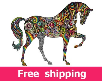 abstract horse wall sticker, colorful horse wall decal decor, horses wall sticker removable vinyl animal horse wall art cartoon. [FL047]