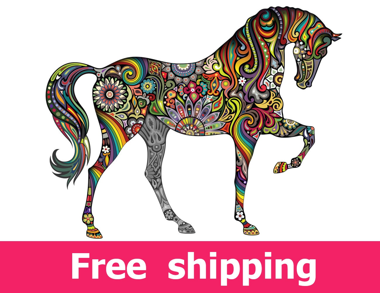 Abstract horse wall sticker colorful horse wall decal decor zoom amipublicfo Gallery