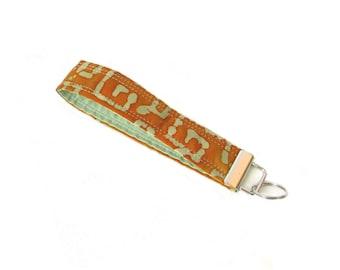 Batik Key Fob, Wrist Lanyard, Handmade Key Chain Wristlet, Fabric Keychain, Green Geometric, Orange, Key Lanyard