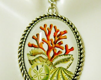 Coral and sand dollar pendant with chain - SAP09-005