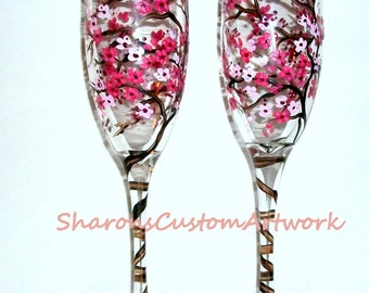 Hand Painted Champagne Flutes Cherry Blossoms Watermelon Pink and Chocolate Brown Wedding  Set of 2 - 6 oz. Toasting Flutes Anniversary