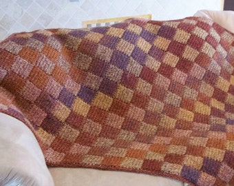Entrelac Crochet Corner Start Square or Rectangle Pattern.  Make an afghan, blanket, shawl, dishcloth etc.