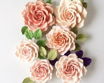 Rose - brooch in pink - orange tones Polymer clay flower
