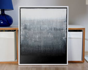 Abstract art, acrylic painting, 50 cm x 60 cm, framed, black and white