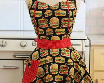 Retro Apron Burgers and Sandwiches on Black - MAGGIE