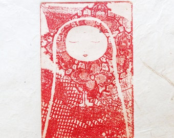 original etching - in meditation and prayer, special edition in red printed on handmade paper from Nepal