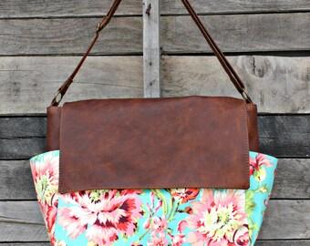 Messenger Bag, Leather Messenger Bag, Leather Laptop Bag, Diaper Bag, Crossbody, Floral Fabric, Baby Girl