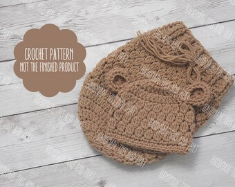 CROCHET PATTERN - baby bear hat and cocoon pattern, newborn bear hat and swaddle pattern, photo prop pattern, baby bear hat pattern
