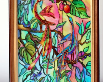 Glass, painting, stained-glass, color, birds, paradise